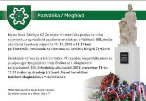 11.11. 2018 o 11. hod. a 11. min. zapálenie sviečky na hrobe padlých vojakov.