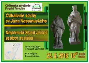 20.6.2016 – Pozvánka na slávnostné odhalenie sochy Sv.Jána Nepomuckého