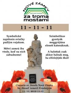 11.11. 2018 o 11. hod. a 11. min. zapálenie sviečky na hrobe padlých vojakov